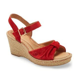 Born Ladue Red Espadrille Wedge Platform Sandal 7